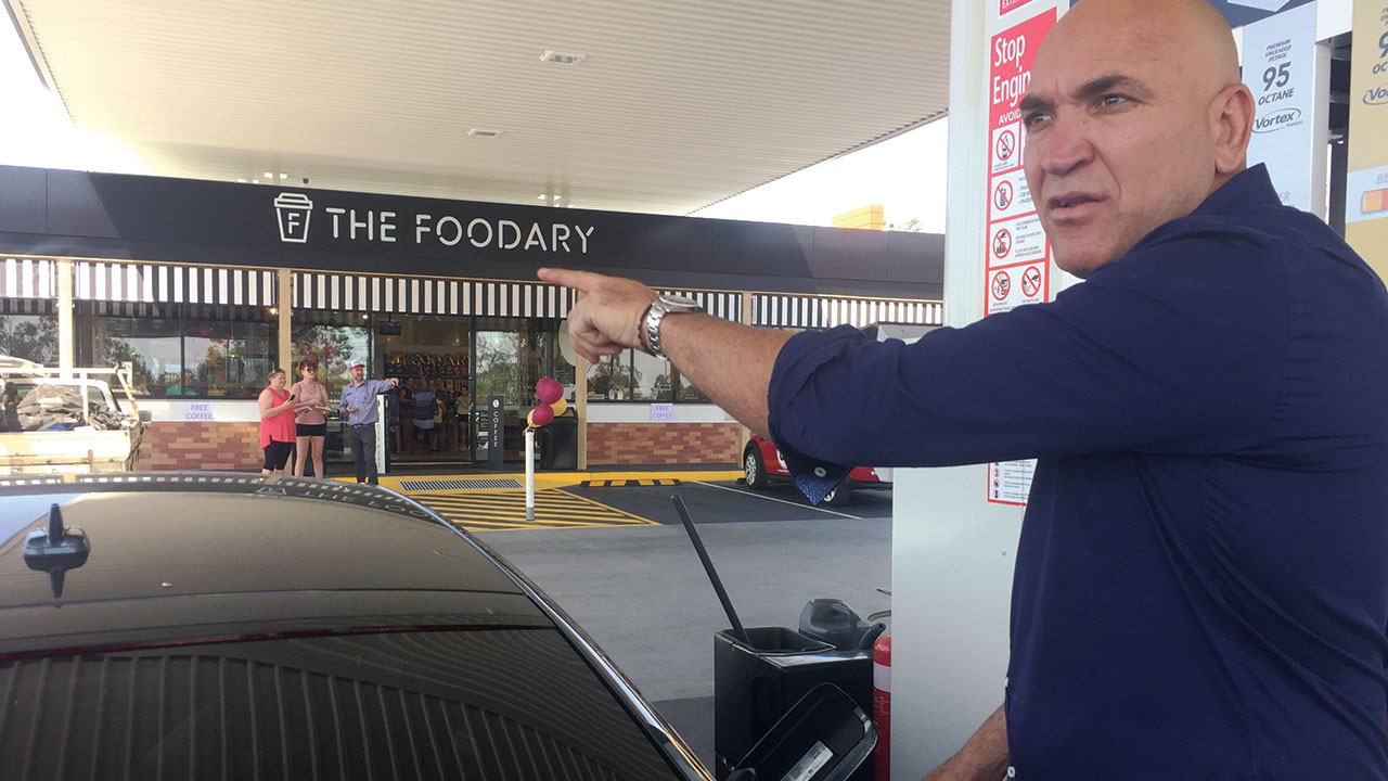 Gorden Tallis at a Caltex Store launch